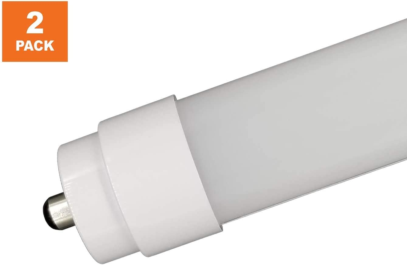 Nyll Pack Of 2 Single Pin Fa8 Base 6 Feet 72 Plug Play Led Tube Cool White 4100k T12 Led Direct Relamp 55w 72 Fluorescent Bulb F72t12 Without Rewiring Or
