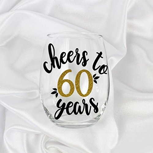 60th birthday gift for women Cheers to 60 years stemless wine glass 21oz - Glasses Idee