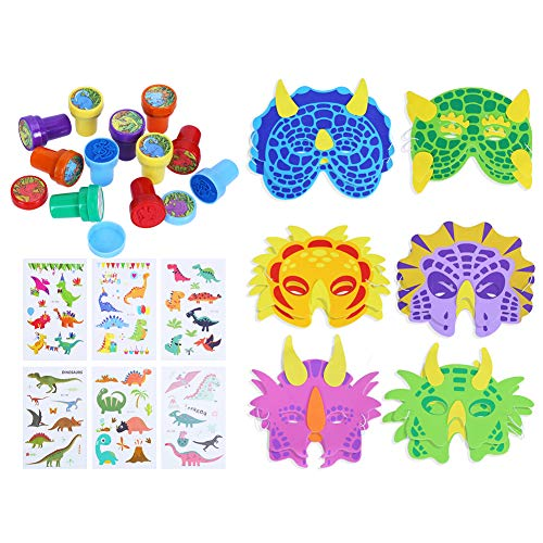 DIYASY Halloween Dinosaur Toys Set Includes 12 Pieces Dinosaur Masks 12 Pieces Dinosaur Stampers and 6 Pieces Dinosaur Tattoo Stickers for Kids Theme Party Favor Supplies ()