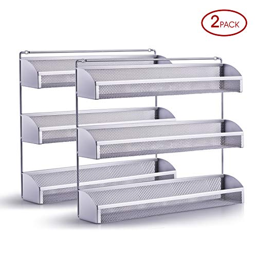 2 Pack- Simple Trending 3 Tier Spice Rack Organizer, Wall Mounted Spice Shelf Storage Holder for Kitchen Cabinet Pantry Door, Silver (Wall Organizers Kitchen)