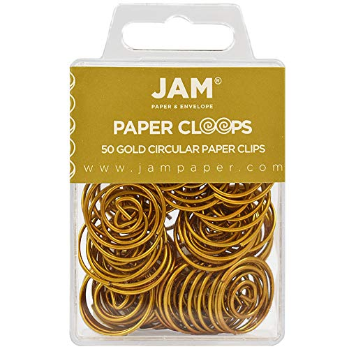 Spiral Paper Clip - JAM PAPER Circular Paper Clips - Round Paperclips - Gold - 50/Pack