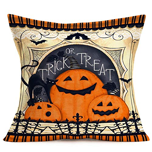 Doitely Happy Halloween Funny Quote Decorative Pillow Covers Orange Pumpkin Trick or Treat Throw Pillow Covers Bat Black Cat Fall Cushion Cover 18 x 18 -