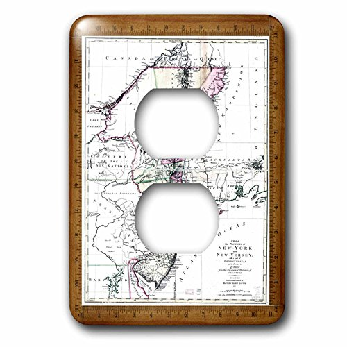 - 3dRose lsp_60473_6 Antique 1771 Map York n New Jersey 2 plug Outlet Cover