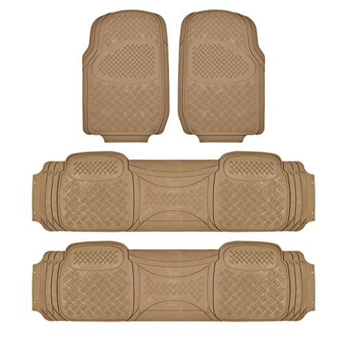 BDK Heavy Duty VAN SUV Rubber Floor Mats - 4 Pieces 3 Rows Full Set- All Weather Trimmable Mat (Beige)