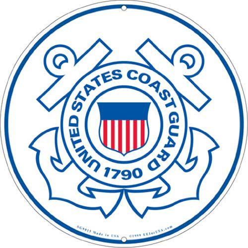 - United States Coast Guard Logo Aluminum Sign Round 12