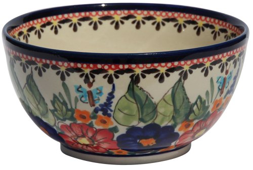Polish Pottery Ice Cream/Cereal Bowl From Zaklady Ceramiczne Boleslawiec #971-149 Art Unikat Signature Pattern, Height: 2.8