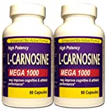 Twin Pack L - Carnosine Mega 1000 Maximum Potency Formula now 120 Caps Total