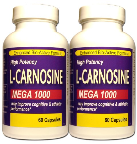 Twin Pack L - Carnosine Mega 1000 Maximum Potency Formula Now 120 Caps Total by Princeton Nutritional