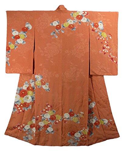 アンティーク 着物 鮮やかな菊の花模様 正絹 袷 裄62cm 身丈150cm