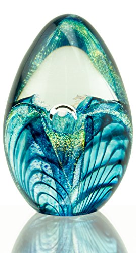 Handcrafted Aqua Blue and Sparkles Passionflower Egg (Keepsake Glass Paperweight)