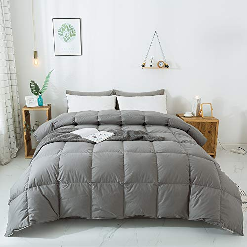 WhatsBedding 100% Cotton Down Comforter Goose Duck Down and Feather