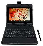 DURAGADGET Black Faux Leather Stand Case with Micro USB German Keyboard & Built-In Stand + BONUS Stylus Pen for GoClever Aries 785/TAB M7841, GoClever Insignia 785 PRO, GoClever Quantum 785