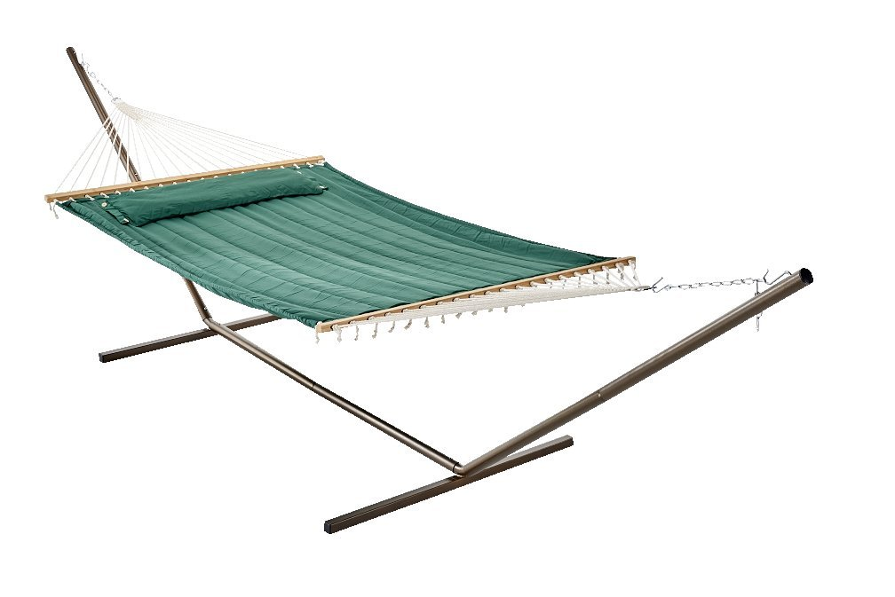 Amazon.com : Smart Garden 52325 EGP Monte Carlo Double Quilted Hammock, Elm  Green, Reversible Design Allows Plain Or Stripe Design To Be Displayed, ...