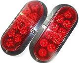 "2 Red Oval Oblong 6"" SURFACE MOUNT LED Brake Stop Turn Tail Light Trailer Truck RV SEALED"