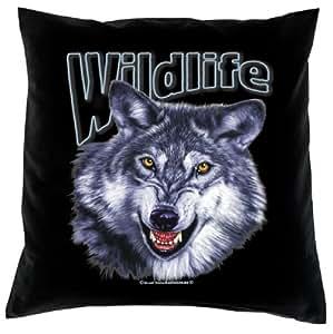 Decoración Cojín con relleno, sofá cojín de sofá en negro, Wolf Wildlife
