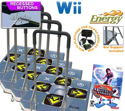 4 x Wii Dance Dance Revolution DDR Energy Arcade Metal Dance Pad with Recessed Buttons and Handle Ba Dance Dance Revolution Metal