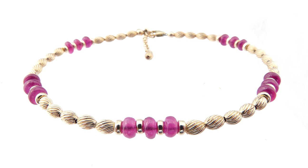 DAMALI 14K Gold Ankle Bracelets: Ruby Beaded July Birthstone Jewelry