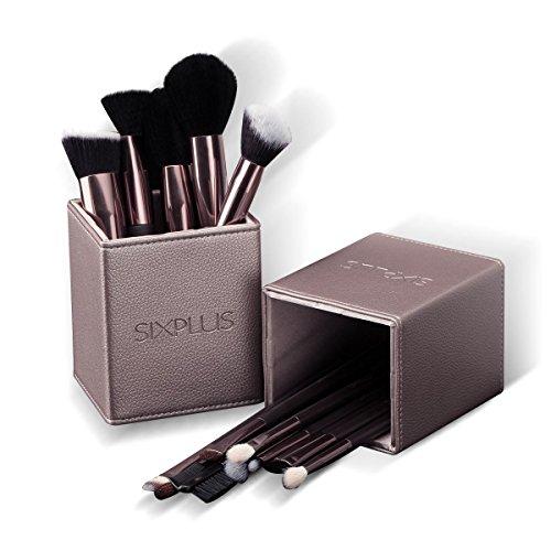 SIXPLUS Pinselset Kosmetik 15-teiliges Professionelles Make up Schminkpinsel Foundation Concealer Gesicht Lidschattenpinsel, mit Magnetische Make-up Pinsel Behälter in Braun