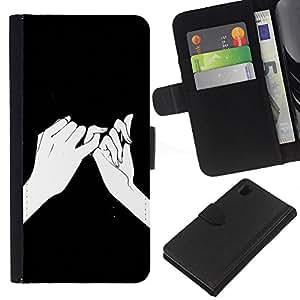 For Sony Xperia Z1 L39 Case , Hands Ink Drawing Black Meaning - la tarjeta de Crédito Slots PU Funda de cuero Monedero caso cubierta de piel