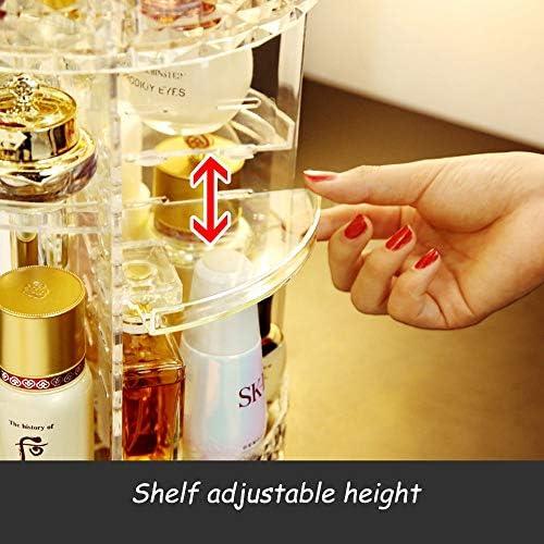 単純な回転化粧品ストレージボックスアジャスタブル化粧ストレージ8層大容量の化粧ストレージユニットは、化粧品やアクセサリーの種類をフィット