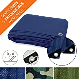 Heavy Duty Tarps | Waterproof Ground Tent Trailer Cover | Multilayered Tarpaulin in Many Sizes and Thicknesses | 15 Mil - Blue - 10' x 18'