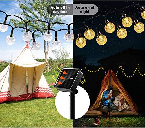 Solar Lichterkette Aussen, 30Leds Kristall Kugeln Außenlichterkette Warmweiß, Wasserdicht IP65 8Modi Außen Deko für Garten Balkon Terrasse Party