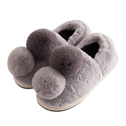 Zapatillas de Interior de Algodón Señoras de Invierno casa Piso Gruesos Zapatos Cálidos de Color Sólido Gris