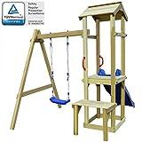 Festnight Set Playhouse Tower Playground Slide Ladder Swing Outdoor Garden - Pinewood, 228x168x218 cm
