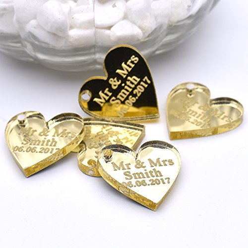 Ys2015 Personalized Engraved MR & MRS Surname Baby Shower Baby Baptism Birthday Customized Love Heart Wedding Table Centerpieces Decor Favors Candy Box Tags 2Cm x 2Cm 50 Pieces (Gold Mirror With Hole) (Baptism Centerpiece Table)