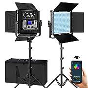 #LightningDeal GVM RGB LED Video Lighting Kit with APP Control, 50W 360° Full Color Led Video Lights, Photography Lighting Video Light Kit with 8 Applicable Scenes, 2 Packs Led Panel Lights for Video Shooting