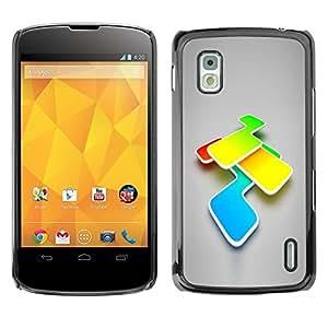 Carcasa Funda Prima Delgada SLIM Casa Case Bandera Cover Shell para LG Google Nexus 4 E960 / Business Style Abstract Colors