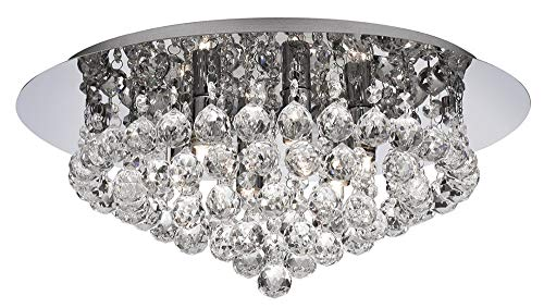 Ultra Modern 6 Light Crystal Glass Flush Ceiling Light Fitting by Happy ()