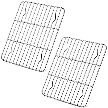 P&P CHEF Cooling Rack Pack of 2, Stainless Steel cooking Rack for Cooling Baking Roasting Grilling Drying, Rectangle 9.7'' x 7.3'' x 0.6'', Fits Small Toaster Oven, Oven & Dishwasher Safe