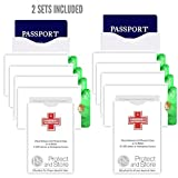 RFID Blocking Sleeves (2 Sets) - Passport, Credit Card & Emergency Sleeves. Keep Chip Card Safe Covered until Swipe & Prevent Illegal Data Capture. Prevent ID & Financials Safe. Made in USA.