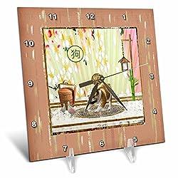 3dRose Beverly Turner Chinese New Year Design - Bulldog. Asian Design, Birds, Basket, Blooms Wall, Sign of Dog - 6x6 Desk Clock (dc_262903_1)