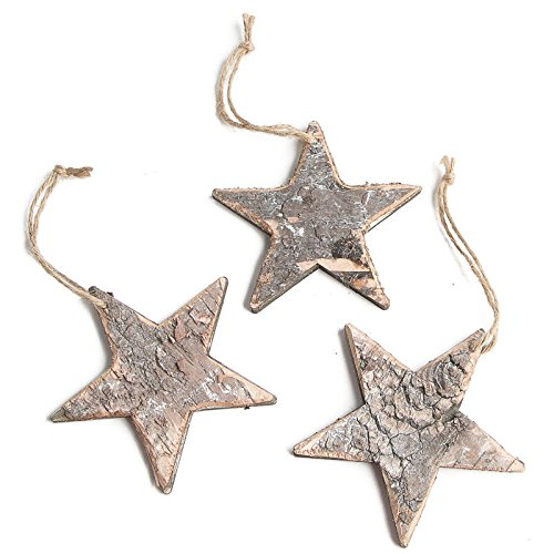 Wood Star Ornaments (Group of 9 Rustic Birch Wood Star Hanging Ornaments for Designing, Embellishing and Crafting)