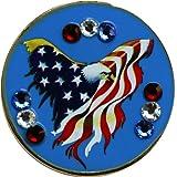 Swarovski Freedom Golf Ball Marker with Matching USA Hat Clip