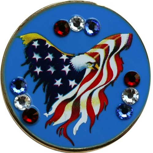 Swarovski Freedom Golf Ball Marker with Matching USA Hat Clip by Be The Ball 4U