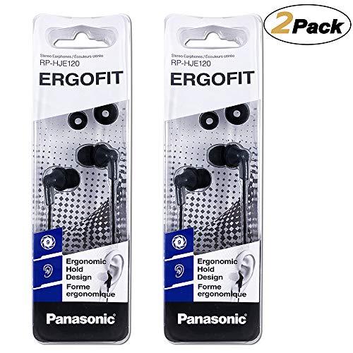 Panasonic ErgoFit Earbud Headphones RP-HJE120-K, (Black) [2Pack]
