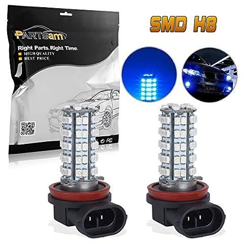 Partsam 2x H8 H11 64212 Ultra Blue Off-road Fog Light Driving Lamp Light Bulb 68 3528 SMD Daytime Running Light Car LED Bulbs With (Ultra Blue)