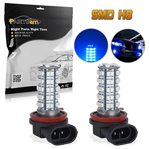 Partsam 2x H8 H11 64212 Ultra Blue Off-road Fog Light Driving Lamp Light Bulb 68 3528 SMD Daytime Running Light Car LED Bulbs With Projectors