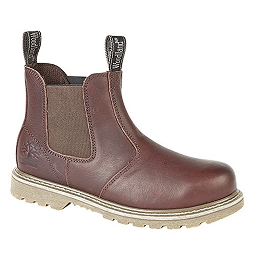 Woodland Mens Tumbled Leather Gusset Chelsea Boots (8 US) (Dark Brown)