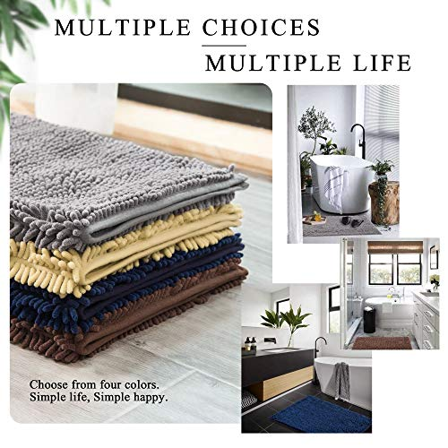 HOMEEY Bath Rug, Non Slip Thick Shaggy Chenille Bath Mats for Bathroom, Extra Soft and Absorbent Bathroom Mat, Machine Washable Bath Mats for Bathroom/Kitchen (32 x 20 Inch, Navy)