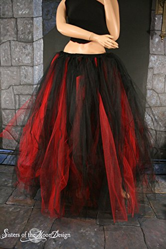 Handmade Floor length tulle tutu petticoat skirt Red and Black by Sisters of the Moon