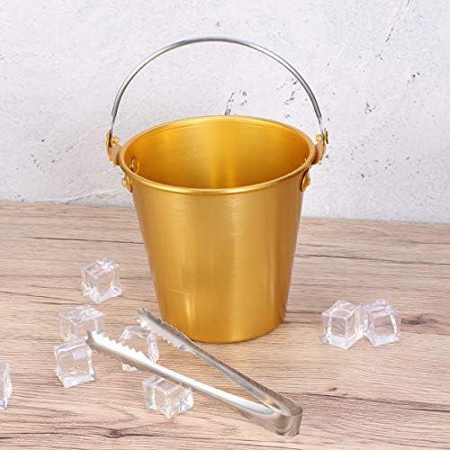 BESTonZON 1,25 Liter Eiseimer Sektkühler Metall Eiswürfelbehälter mit Eiszange Metall für Ktv Club Bar Liefert (Golden)