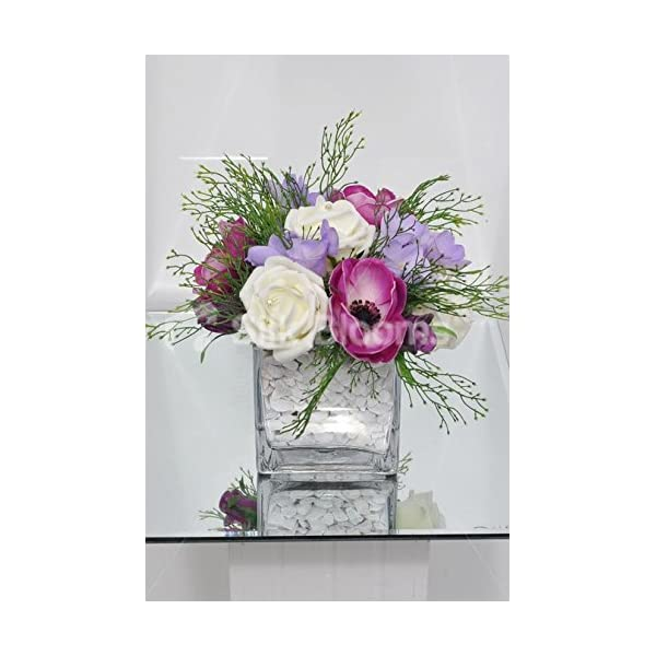 Silk Blooms Ltd Beautiful Artificial Plum Anemone and Lilac Freesia Floral Table Arrangement