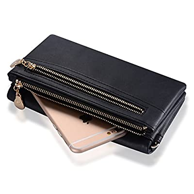 Augur Women's Matte Wristlet Clutch Wallet with Wrist Strap Card Holder