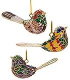 Value Arts Christmas Ornaments, 3 Piece Set Cloisonne Singing Bird Ornament