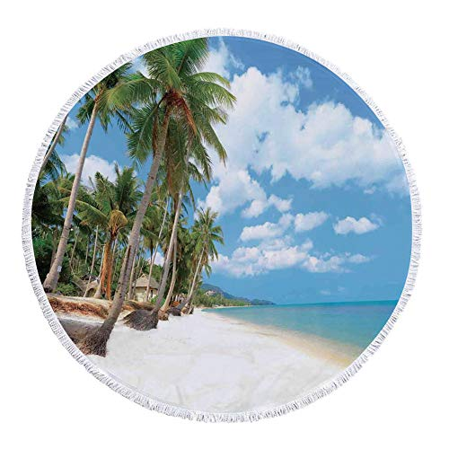 iPrint Thick Round Beach Towel Blanket,Ocean,Tropical Beach View with Exotic Palm and Clean Sand by the Sea Hawaii Style Paradise,Cream Blue Green,Multi-Purpose Beach Throw by iPrint