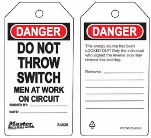 Master Lock ''Danger - Do Not Throw Switch - Men At Work On Circuit'' Tag, Plastic, 5-3/4'' Height, 3'' Width (Pack of 6)